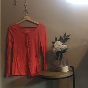 Coral Women's Long Sleeve Tee with Ruffles